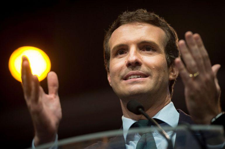 El candidato a presidir el Partido Popular Pablo Casado, durante el acto por la libertad