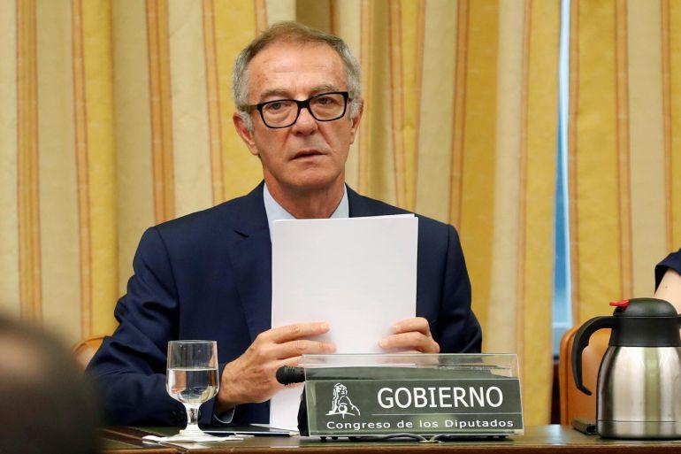 El ministro de Cultura y Deporte, José Guirao, comparece por primera vez ante la Comisión de Cultura, hoy en el Congreso de los Diputados
