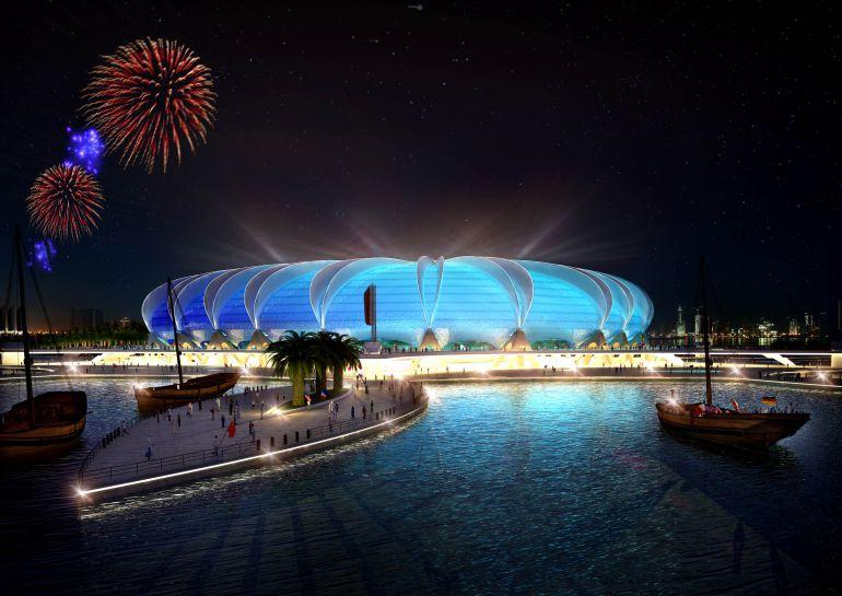 Proposición del Estadio Puerto de Doha, pendiente de construirse.