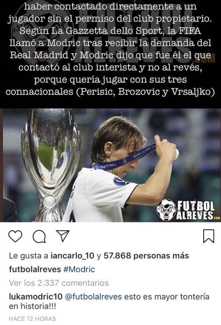 Modric niega haber sido él quien contactó con el Inter