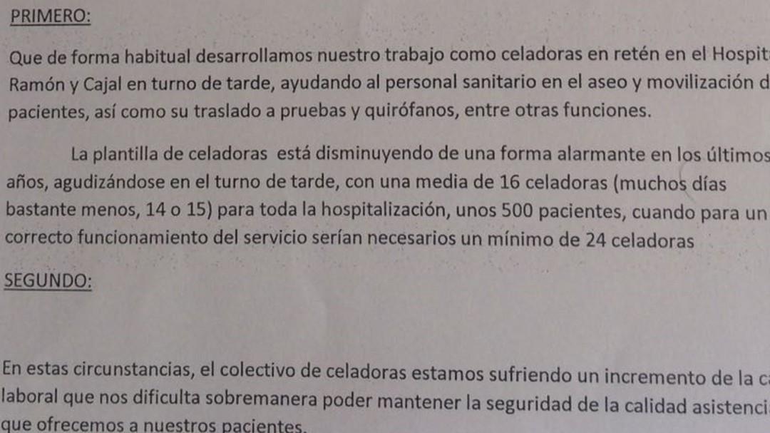 Los celadores del Hospital Ramón y Cajal llevan al hospital a los tribunales