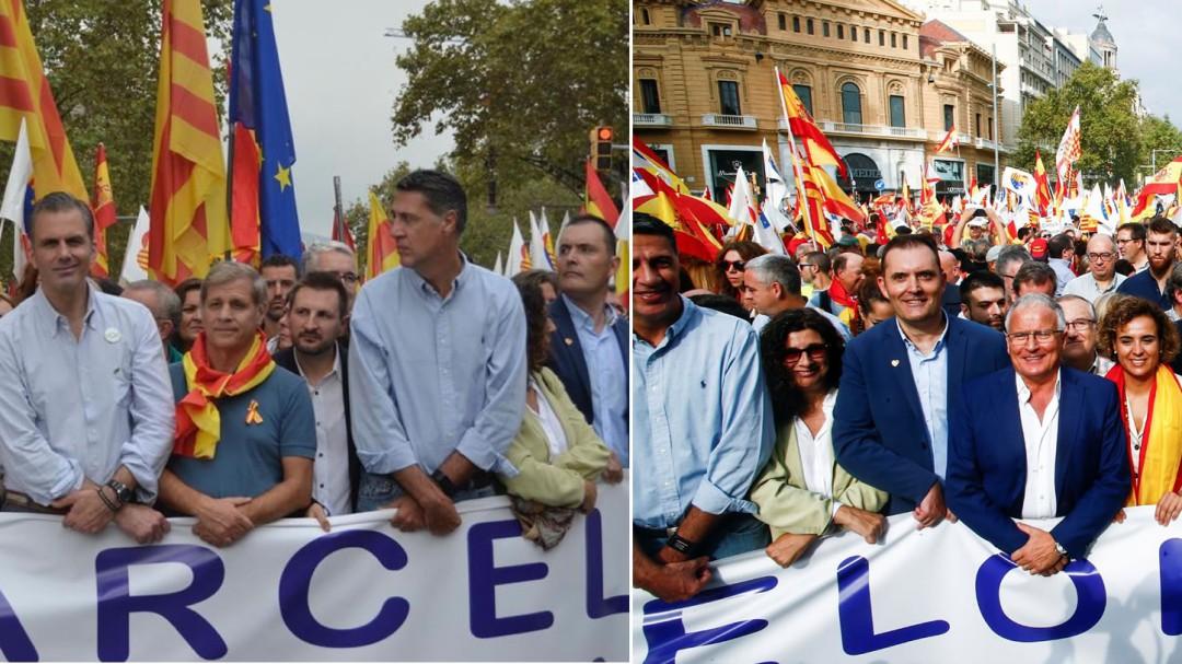 Arrimadas, Albiol y Dolors Montserrat comparten pancarta con Vox