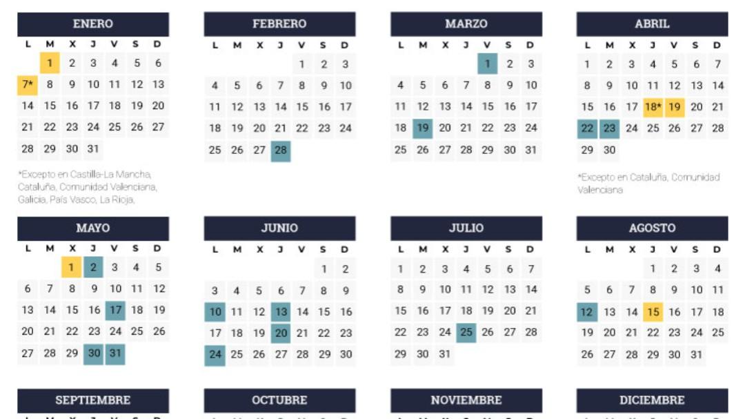 Así será el calendario laboral de 2019