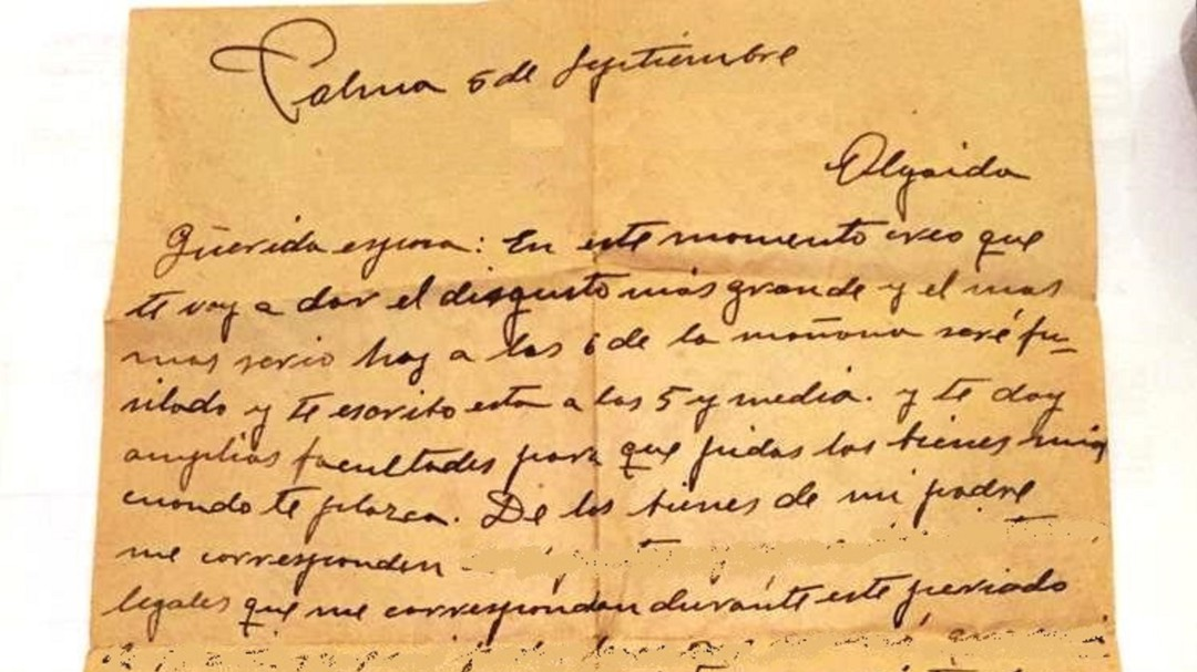 La carta que Miguel Noguera escribió media hora antes de ser fusilado en 1939