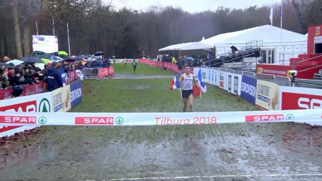 La accidentada celebración de Gressier en el Europeo de cross