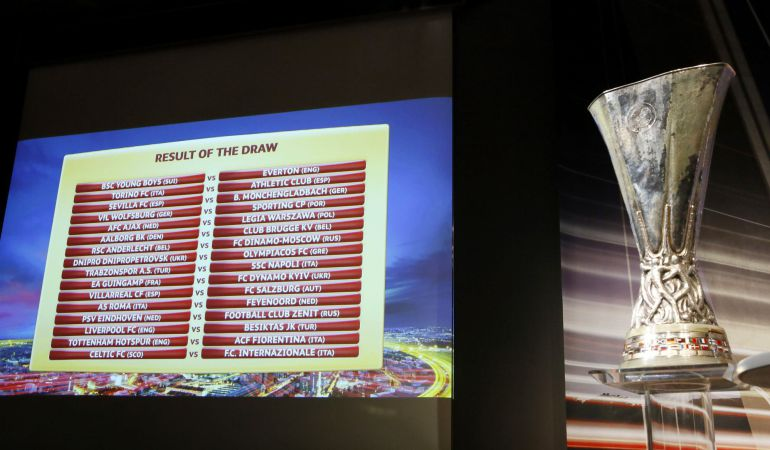 A screen shows the results of the draw for the Europa League round of 32 soccer matches near the Europa League trophy at the UEFA headquarters in Nyon December 15, 2014. REUTERS/Pierre Albouy (SWITZERLAND - Tags: SPORT SOCCER)