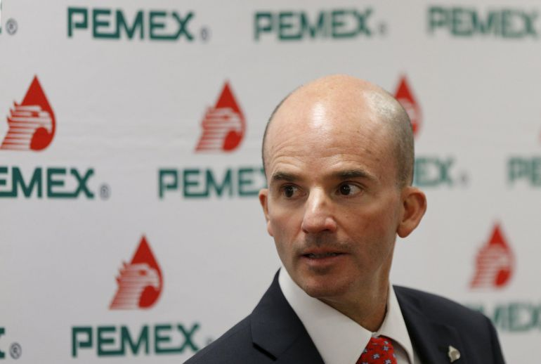 Jose Antonio Gonzalez Anaya, Chief Executive Officer of Petroleos Mexicanos (Pemex), arrives to attend a news conference in Mexico City.