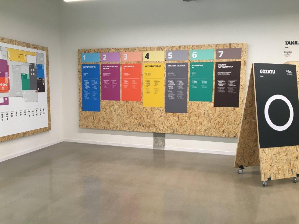 Los contenidos de Ubik se han organizado en siete grupos temáticos: pensamiento, artes audiovisuales, artes vivas, artes plásticas, cultural digital, espacios e infraestructuras culturales. Cada grupo tiene un número del 1 al 7 y un color.