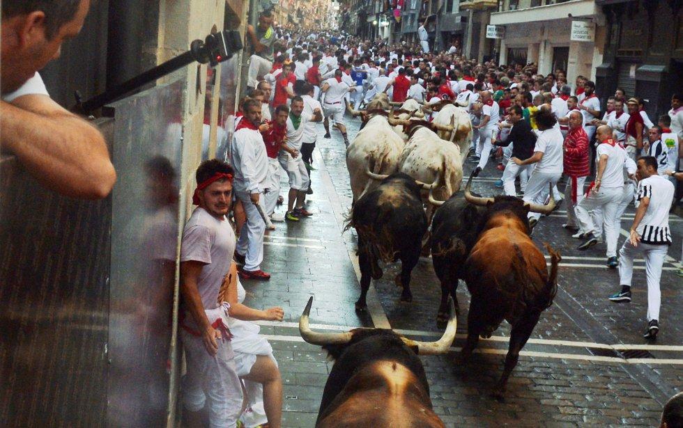 La manada de Fuente Ymbro, por la esquina de la calle Estafeta.