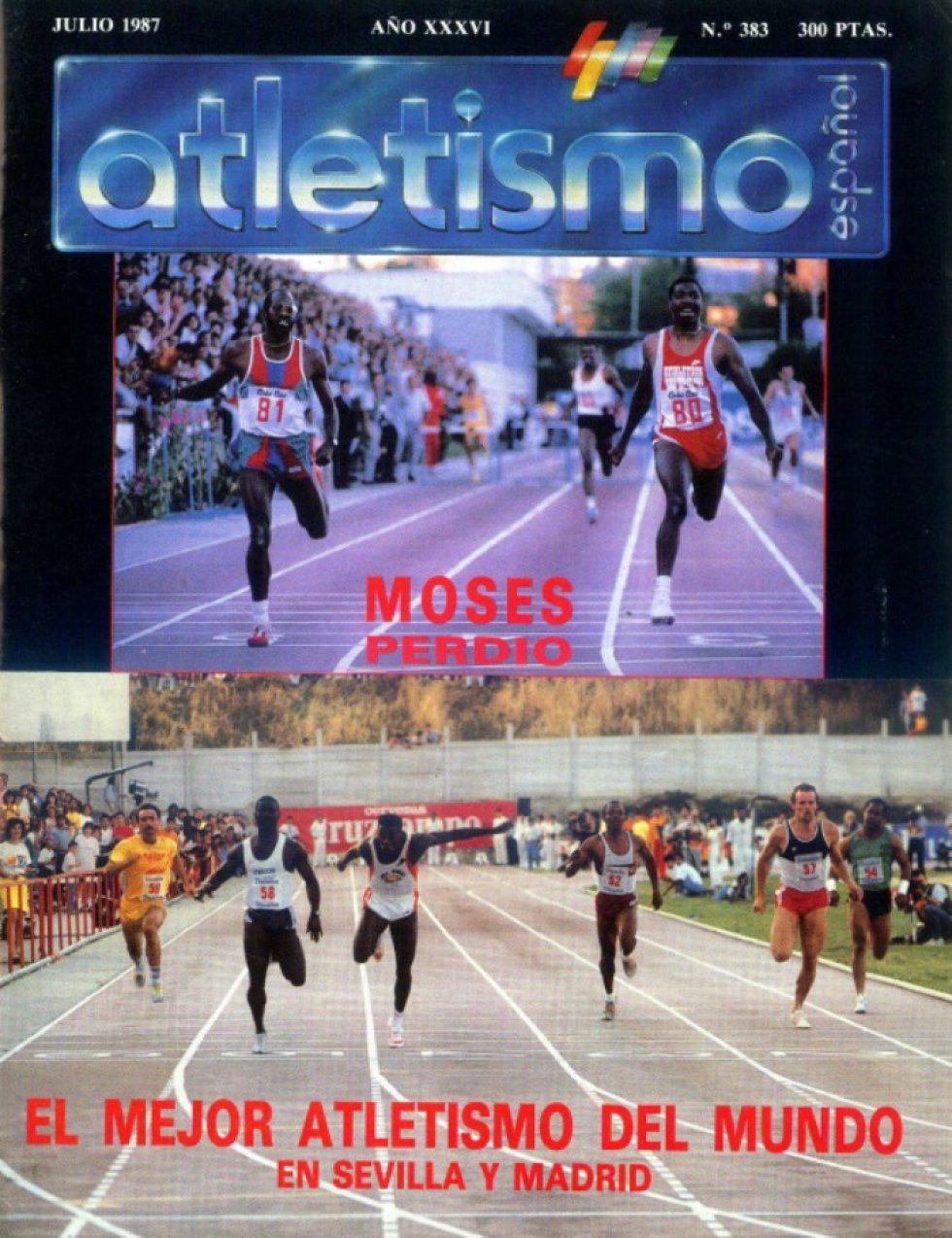 Portada de la revista 'Atletismo Español' con la derrota de Edwin Moses en Vallehermoso (1987)