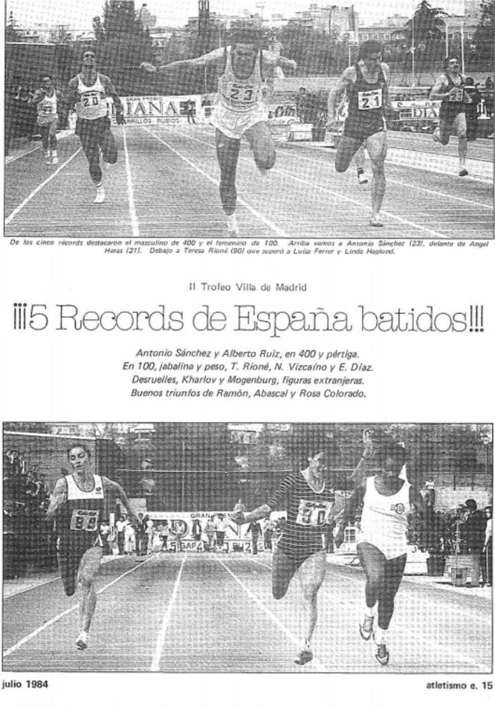 Reportaje en la revista 'Atletismo Español' sobre la segunda edición del Meeting de Madrid celebrada en Vallehermoso (1984)