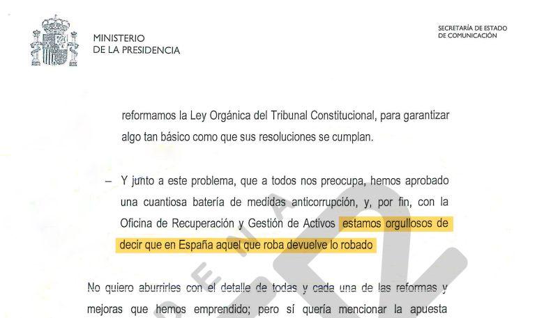 La Frase Sobre Corrupción Del Discurso De Rajoy Que El