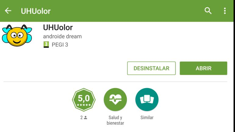 Vista de UHUolor disponible en Play Store de Google
