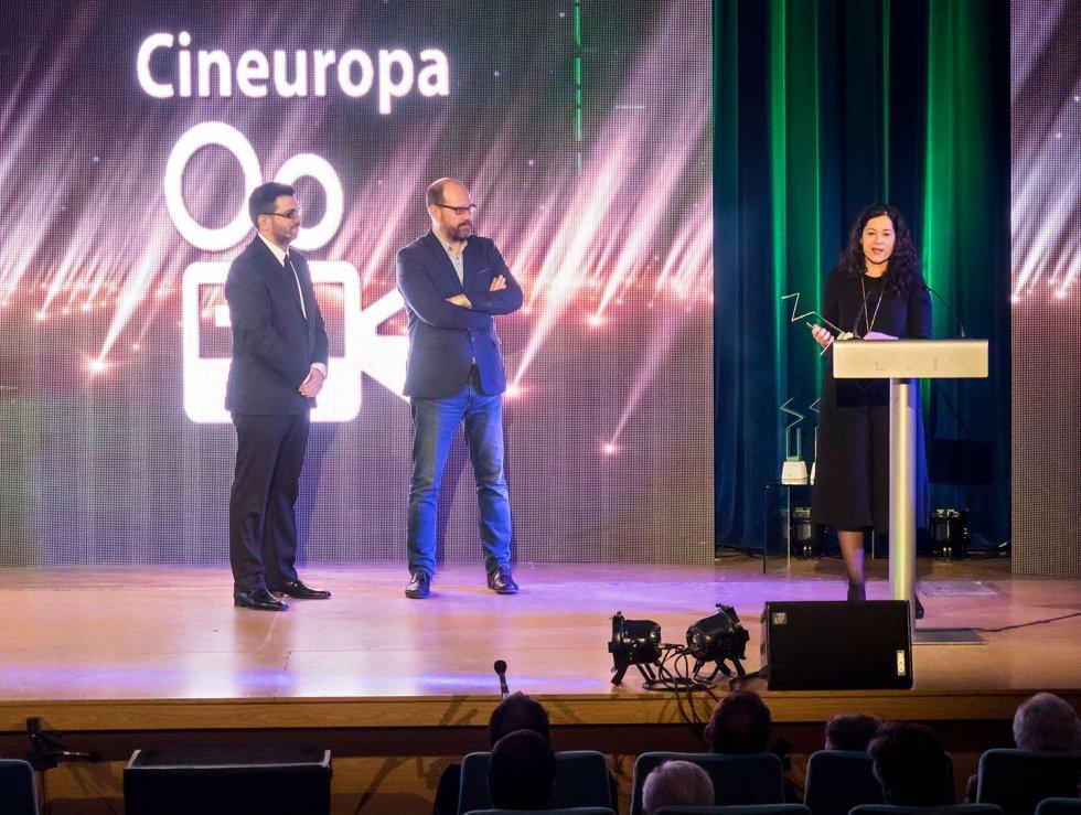 El discurso de agradecimiento de Cineuropa a cargo de la Teniente de Alcalde de Cultura, María Rozas
