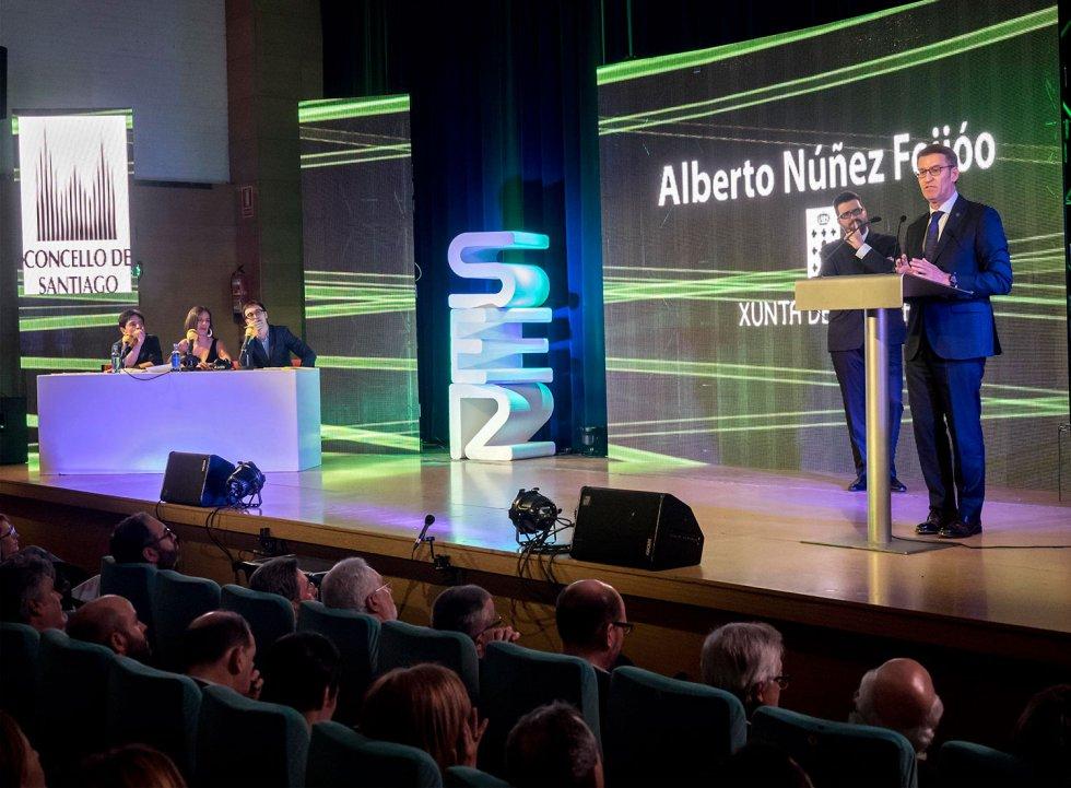 El Presidente de la Xunta, Alberto Núñez Feijóo, en su discurso como final de la gala