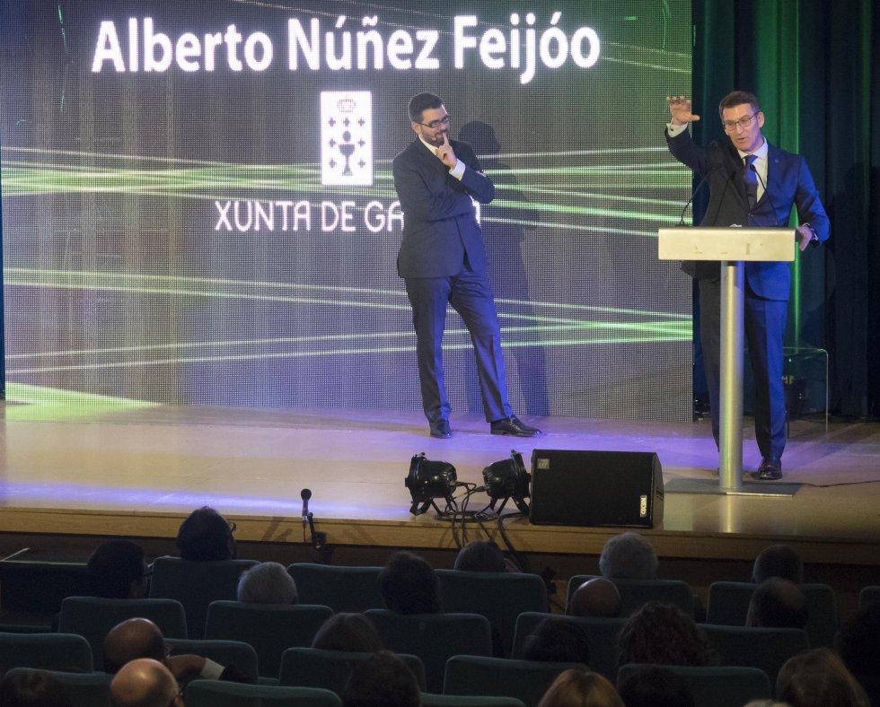 El Presidente de la Xunta, Alberto Núñez Feijóo, durante su discurso
