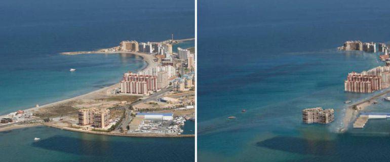 Montaje de La Manga del Mar Menor en la actualidad e inundada de agua.