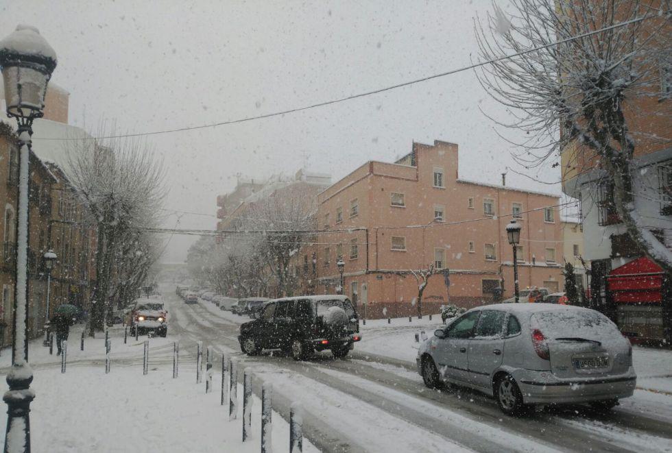 Fuerte nevada en la zona de Almansa (Albacete)