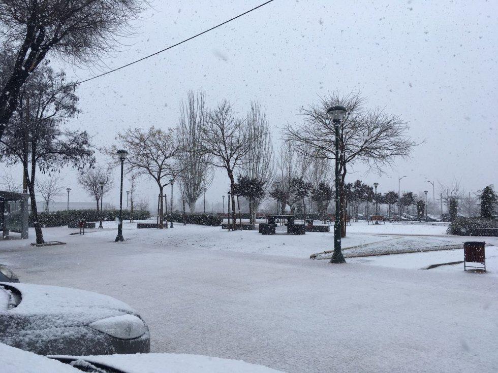 Imagen vespertina de Albacete capital con nieve ya cuajada