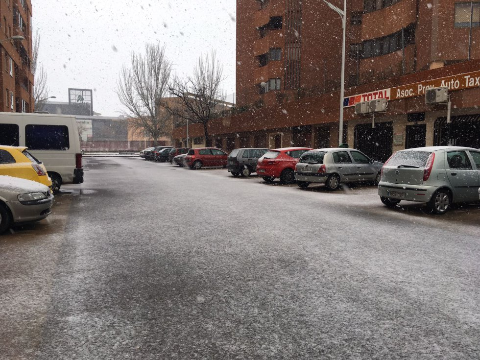 Nieve recién cuajada en una de las avenidas de Albacete