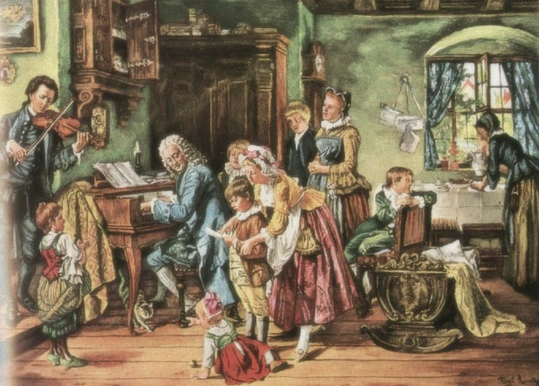 """J.S. Bach and his family at morning prayers"""