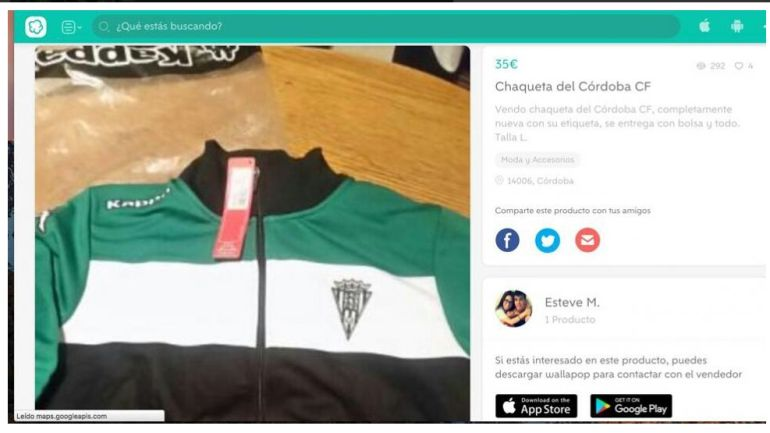 0d67800bdca Un jugador del Córdoba CF pone a la venta ropa oficial en Wallapop ...