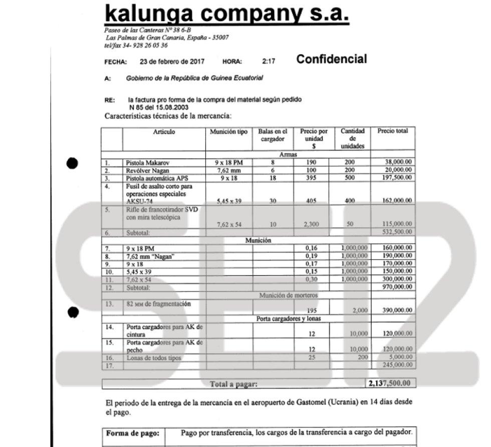 Teodoro Obiang: Las facturas encontradas en los registros de compraventa de armas de los testaferros de Obiang