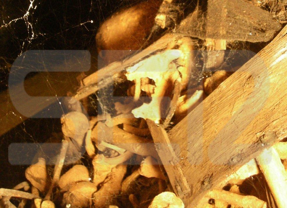 A través del agujero del tercer nivel en la Capilla del Santísimo se observa la rotura de los columbarios, dispersión masiva de los restos óseos y mezcla de los mismos. Según los registros del Valle en este nivel hay 2.617 cajas y 5.074 restos óseos.