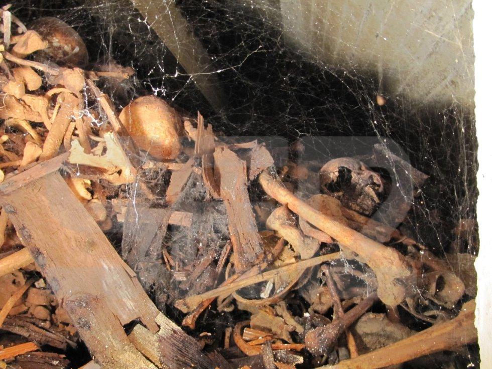 Cuarto nivel de la Capilla del Santísimo. Están rotos tanto huesos como columbarios; todo se mezcla. No se puede ver qué más hay , porque los huesos de los niveles 1 y 2 se han introducido en el habitáculo. Se desconoce el alcance real de restos de este nivel. En el registro dice que en su día hubo 383 personas (49 columbarios). Entre telas de araña, en la foto se ve una pelvis partida por la mitad, tres cráneos y huesos de distintos tamaños, mezclados con pequeños restos óseos.
