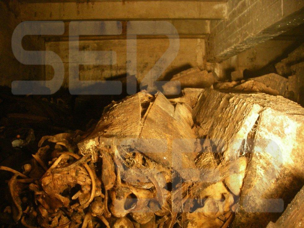 Visión directa del interior del nivel 1, desde la apertura. En la foto se ve un columbario roto y deformado cuyos restos óseos son incontables. Los restos se mezclan con la caja de al lado; no existe división entre ambos columbarios. Se pueden ver, al menos, dos cráneos y una pelvis. El informe decía que los columbarios que se movieron están descontrolados, pero se puede ver en algunos una etiqueta identificativa, en la que el nombre se lee a medias En teoría hay registradas 4.258 personas en 1.067 columbarios.
