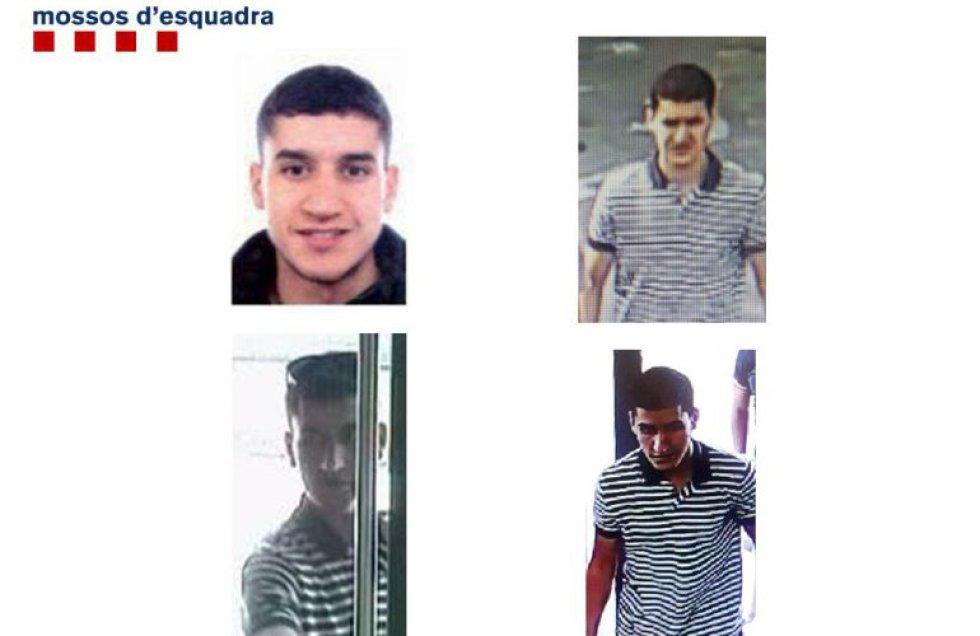 Imágenes de Younes Abouyaaqoub difundidas por las autoridades para su identificación
