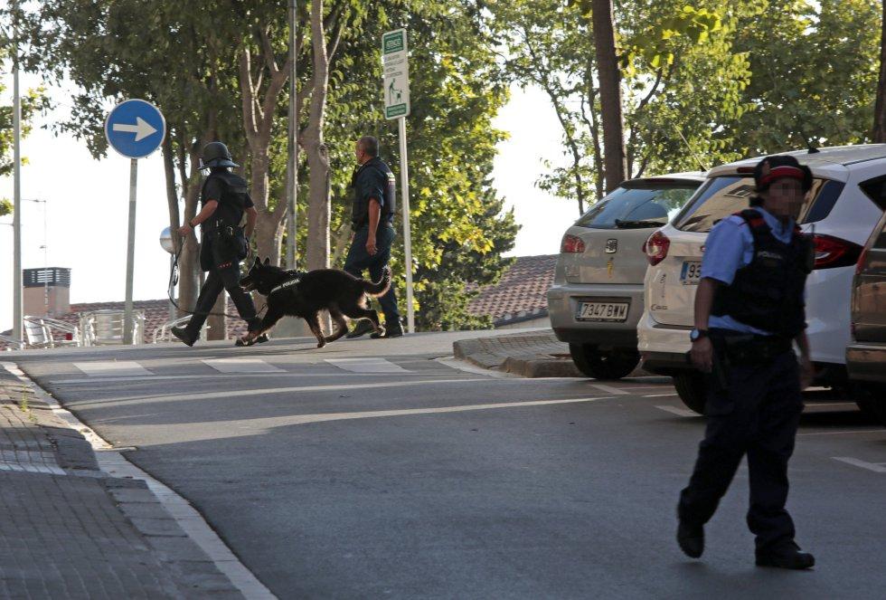 Despliegue policial en Sant Sadurní d'Anoia, donde los Mossos d'Esquadra han montado un dispositivo de control.