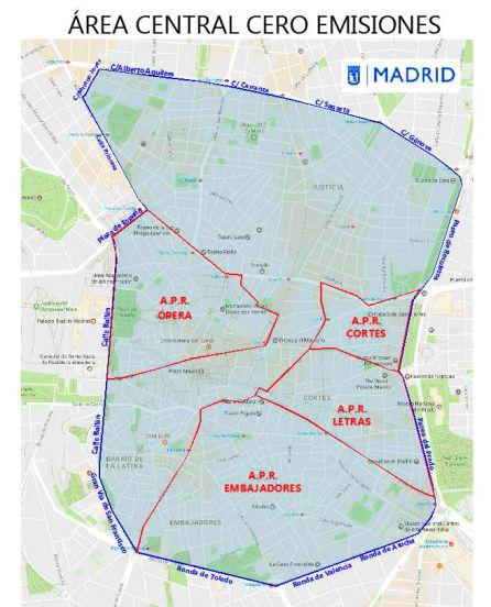 Restricciones Tráfico Madrid Mapa.El Area Central 0 Emisiones De Madrid Arrancara En Junio De