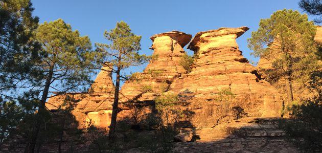 Rocas de arenisca entre pinos rodenos.