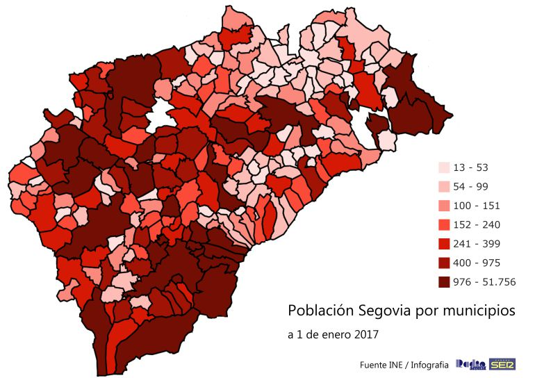 Pueblos De Segovia Mapa.La Provincia De Segovia Pierde 1 468 Habitantes Mas Radio