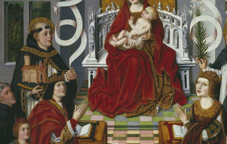 La Virgen de los Reyes Católicos (Torquemada, a la izquierda, tras Fernando el Católico)