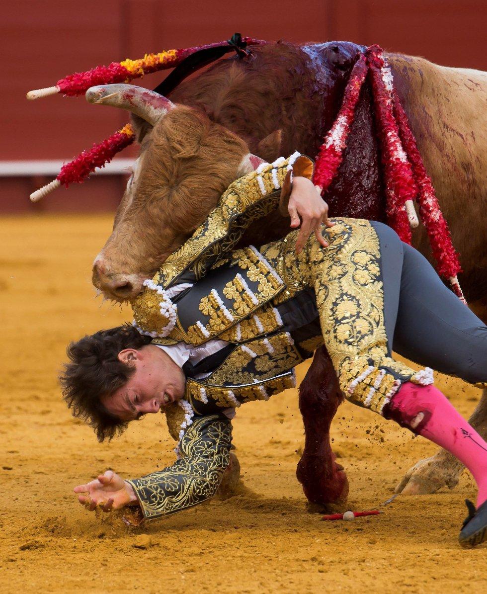 GRAF9274. SEVILLA, 08/04/2018.- El diestro Román en la lidia al primero de su lote, durante la segunda corrida de abono de la Feria de Abril celebrada esta tarde en la plaza de toros de la Maestranza, en Sevilla. EFE/Raúl Caro