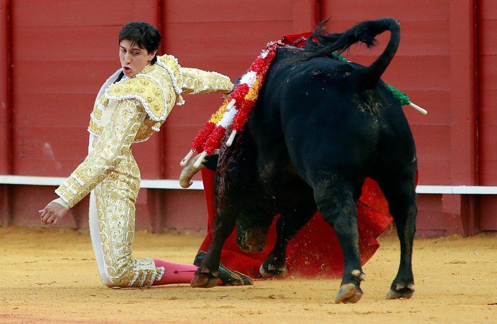 GRAF7741. SEVILLA, 19/04/2018.- El torero Roca Rey da un pase a su primer toro en la decimoprimera corrida de abono de la Feria de Abril hoy en la Real Maestranza de Sevilla. EFE/Julio Muñoz