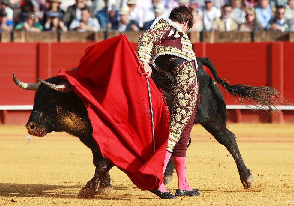 """GRAF7716. SEVILLA, 19/04/2018.- El torero Julián Lopez """"El Juli"""" da un pase a su primer toro en la decimoprimera corrida de abono de la Feria de Abril hoy en la Real Maestranza de Sevilla. EFE/Julio Muñoz"""