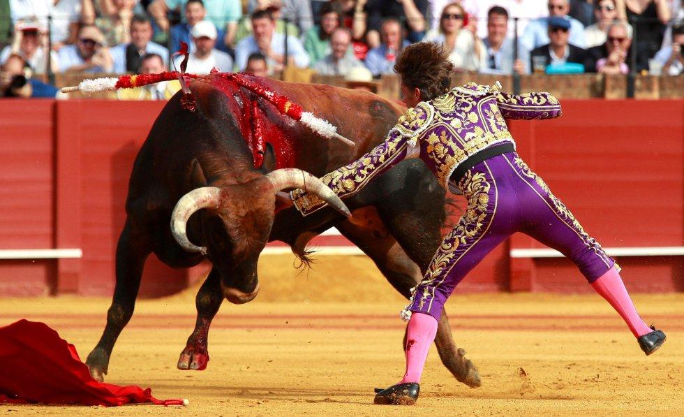 GRAF169. SEVILLA 22/04/2018,- El torero Manuel Escribano desarmado por su primer toro, de la ganadería de Miura, en la decimocuarta corrida de abono de la Feria de Abril esta tarde en la Real Maestranza de Sevilla. EFE/Julio Muñoz
