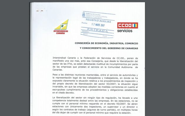 CCOO e Intersindical registraron en 2017 las deficiencias en las ITV canarias