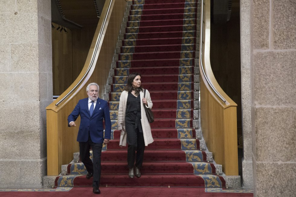 El presidente del Parlamento, Miguel Santalices, y la ex-presidenta de la cámara, Pilar Rojo.