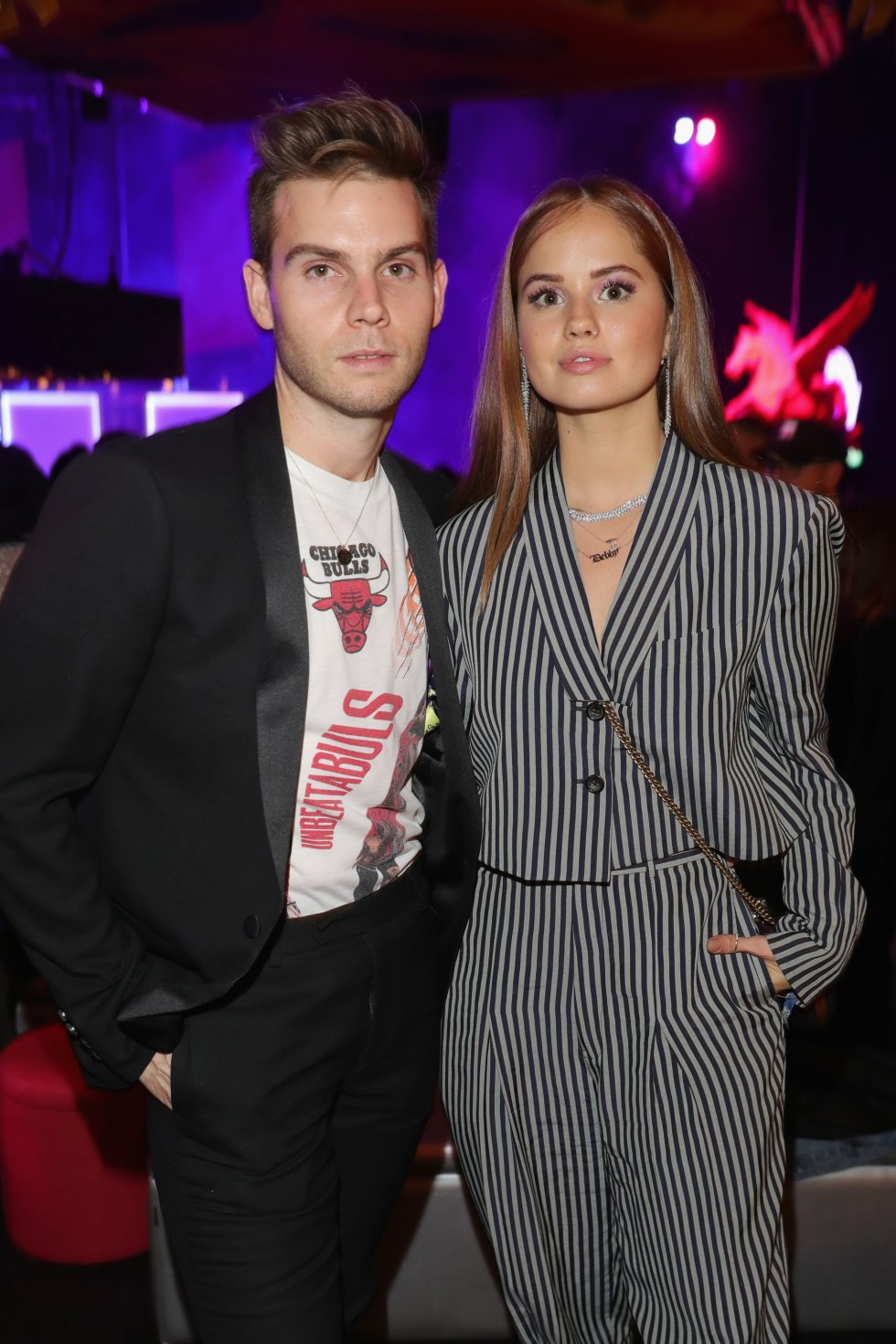 BILBAO, SPAIN - NOVEMBER 04:  Debby Ryan (R) and a guest attend the MTV EMAs 2018 after show party at Bilbao Exhibition Centre on November 4, 2018 in Bilbao, Spain.  (Photo by Andreas Rentz/Getty Images for MTV)