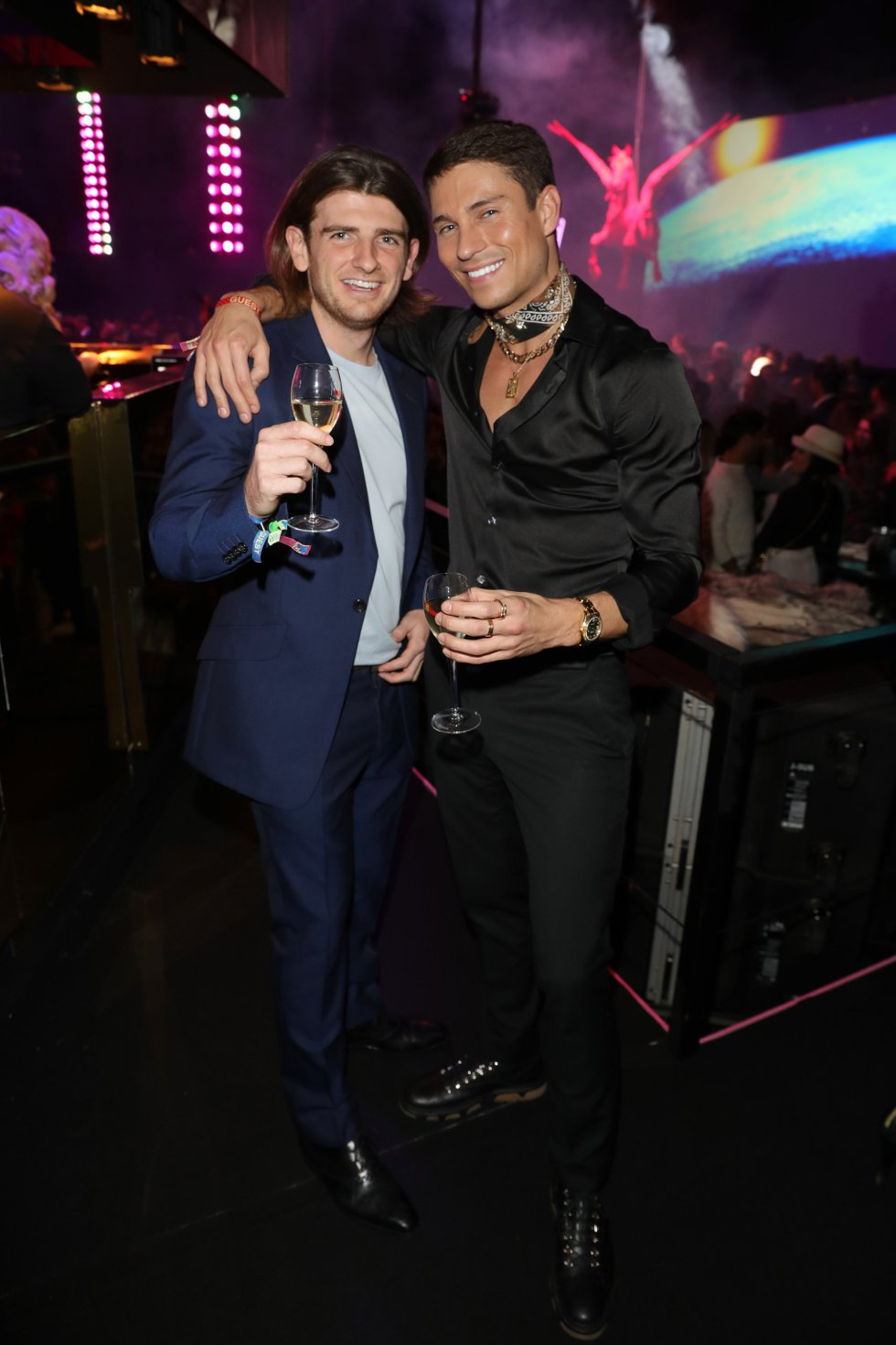 BILBAO, SPAIN - NOVEMBER 04: Joey Essex (R) and a guest attend the MTV EMAs 2018 after show party at Bilbao Exhibition Centre on November 4, 2018 in Bilbao, Spain.  (Photo by Andreas Rentz/Getty Images for MTV)