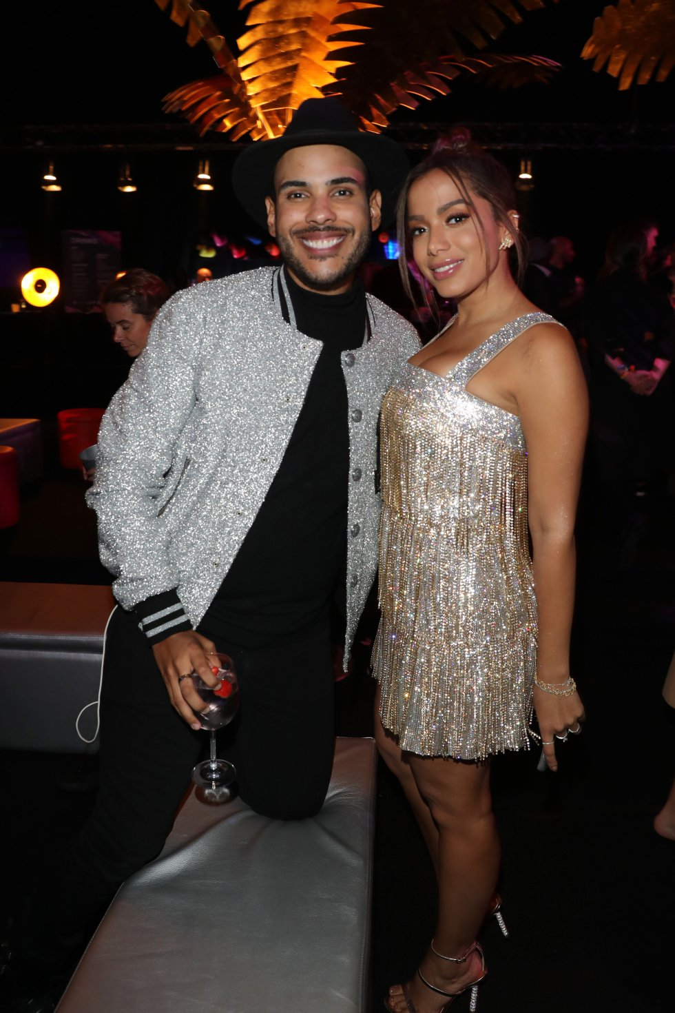 BILBAO, SPAIN - NOVEMBER 04:  (L-R) Hugo Gloss and Anitta during the MTV EMAs 2018 after show party at Bilbao Exhibition Centre on November 4, 2018 in Bilbao, Spain.  (Photo by Andreas Rentz/Getty Images for MTV)