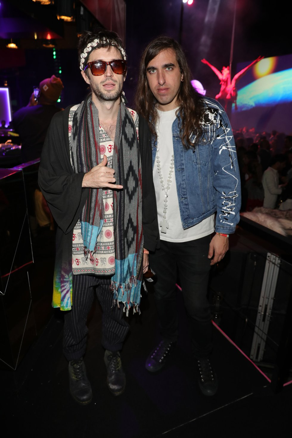 BILBAO, SPAIN - NOVEMBER 04: Sebastian Pringle and Gilbert Vierich of Crystal Fighters attend the MTV EMAs 2018 after show party at Bilbao Exhibition Centre on November 4, 2018 in Bilbao, Spain.  (Photo by Andreas Rentz/Getty Images for MTV)