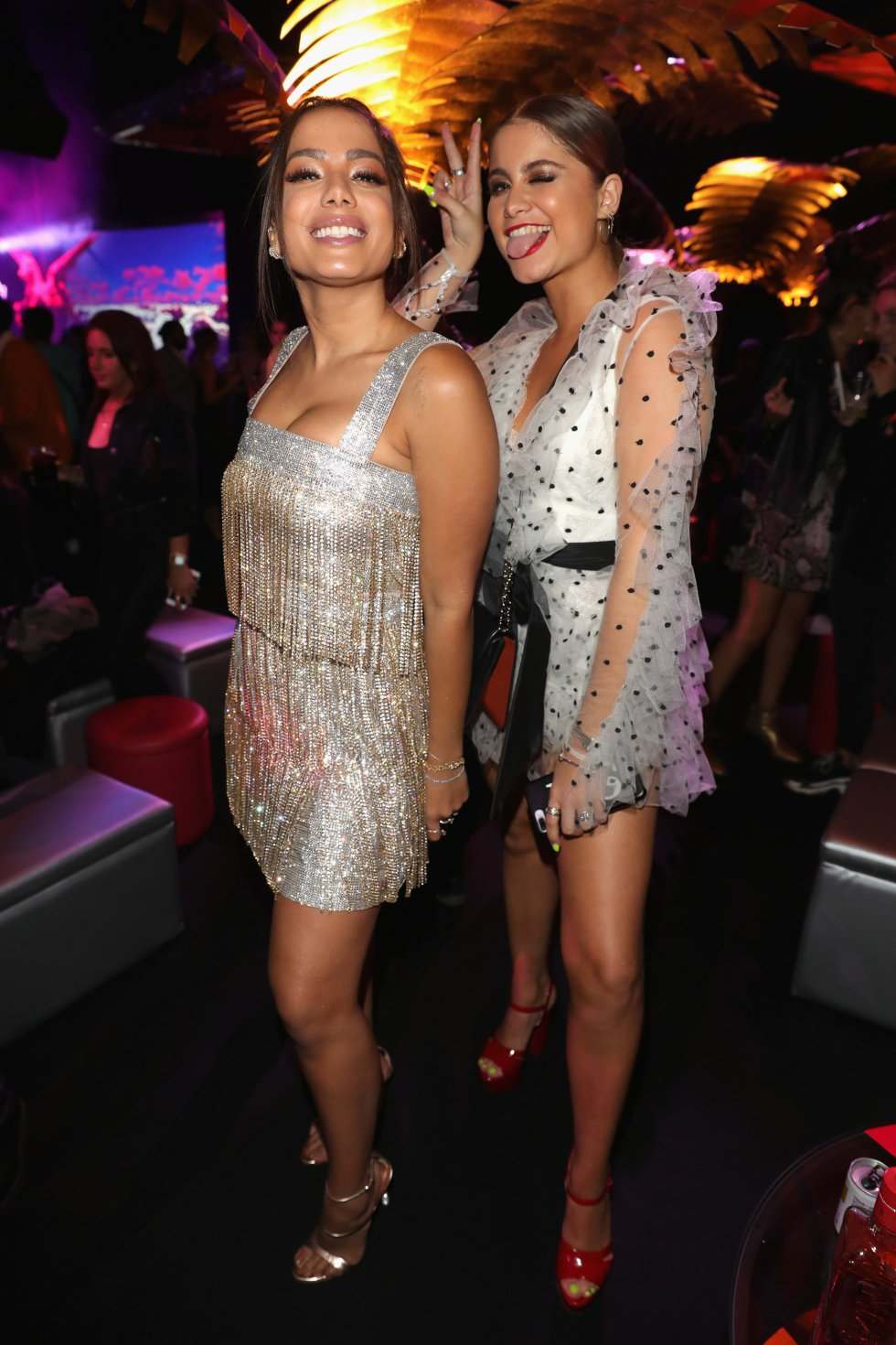 BILBAO, SPAIN - NOVEMBER 04: Anitta and Sofia Reyes during the MTV EMAs 2018 after show party at Bilbao Exhibition Centre on November 4, 2018 in Bilbao, Spain.  (Photo by Andreas Rentz/Getty Images for MTV)