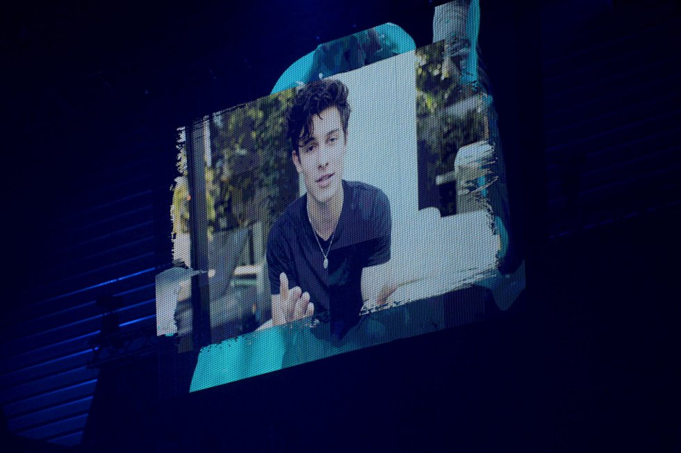 BILBAO, SPAIN - NOVEMBER 04:  Shawn Mendes on the screen during the MTV EMAs 2018 at the Bilbao Exhibition Centre (BEC) on November 04, 2018 in Bilbao, Spain. (Photo by Dave Hogan/MTV 2018/Dave J Hogan/Getty Images for MTV)