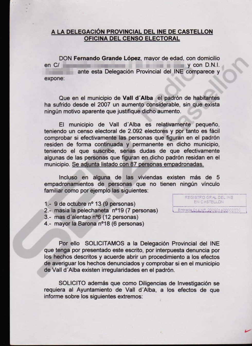 Denuncia del portavoz del PSPV, Fernando Grande, por las presuntas irregularidades en el censo