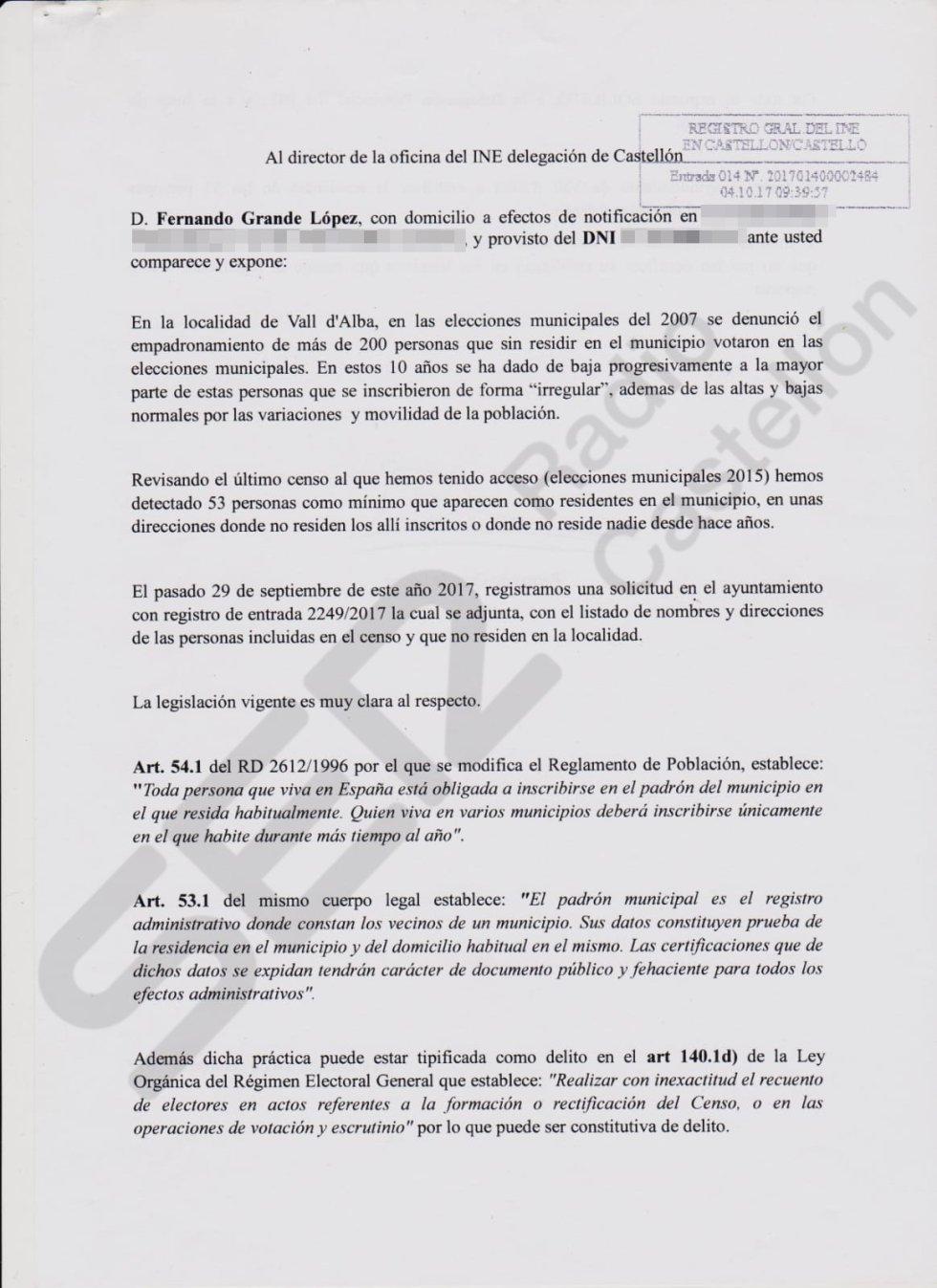 Datos sobre los residentes empadronados de forma irregular en viviendas de Vall d'Alba